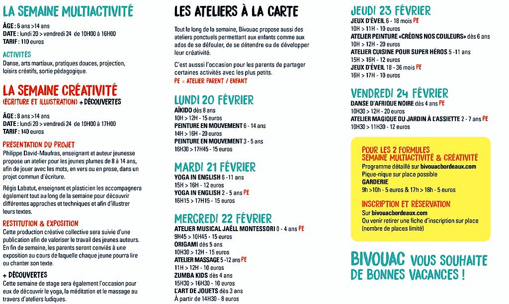 Ateliers de vacances bivouac bastide enfant - Vacances fevrier 2017 bordeaux ...