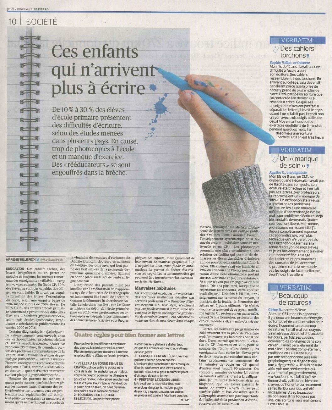 probleme-ecriture-dysgraphie-reeducation-gironde-bordeaux-Figaro 2017-03-02